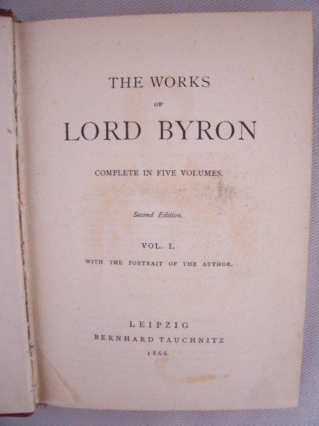 Erste Seite des ersteb Buchs der Byron-Ausgabe, Tauchnitz, Leipzig, 1966; Quelle: T.D.